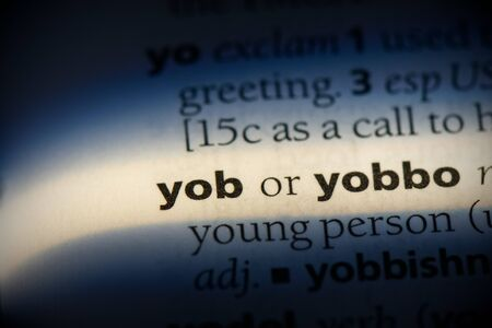 yob word in a dictionary. yob concept, definition. Stok Fotoğraf