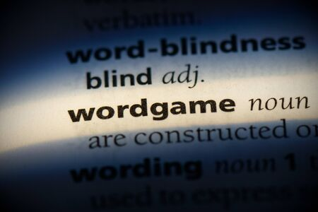 wordgame word in a dictionary. wordgame concept, definition.