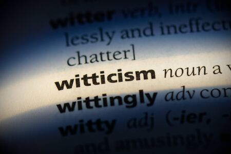 witticism word in a dictionary. witticism concept, definition. Banco de Imagens