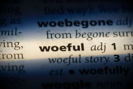 woeful word in a dictionary. woeful concept, definition. 版權商用圖片