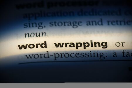 word wrapping word in a dictionary. word wrapping concept, definition. Stok Fotoğraf