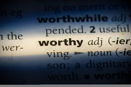 worthy word in a dictionary. worthy concept, definition. 版權商用圖片