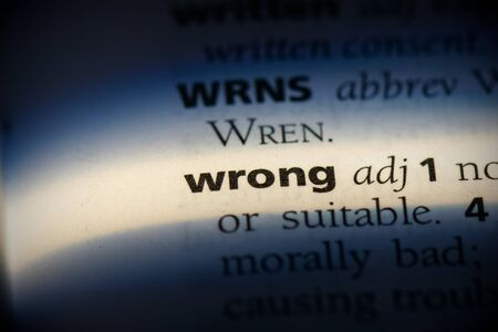 wrong word in a dictionary. wrong concept, definition. Stok Fotoğraf