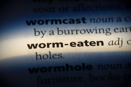 worm-eaten word in a dictionary. worm-eaten concept, definition. Banco de Imagens