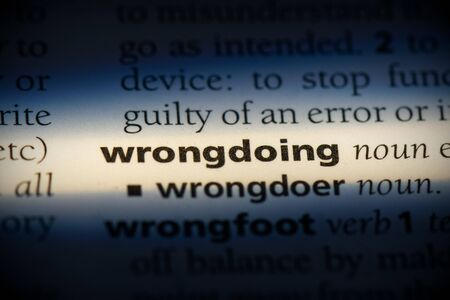 wrongdoing word in a dictionary. wrongdoing concept, definition.