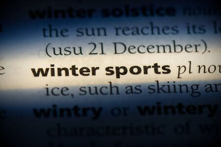 winter sports word in a dictionary. winter sports concept, definition.