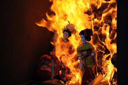 Japanese dolls burned at the temple photo