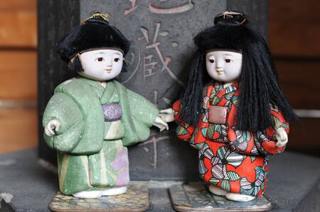Japanese dolls in a tiny temple in Tokyo