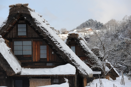 thatched roof: Thatched roof house covered in snow
