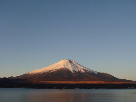 Mount Fuji at dawn over lake Kawaguchi photo