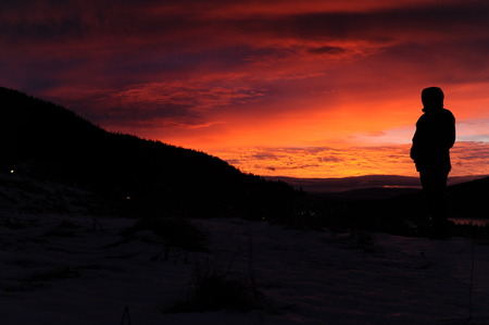 sunup: Watching a sunrise in the mountains in northern Sweden Stock Photo