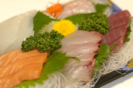 Sashimi set - a Japanese delicacy with raw fish and seafood