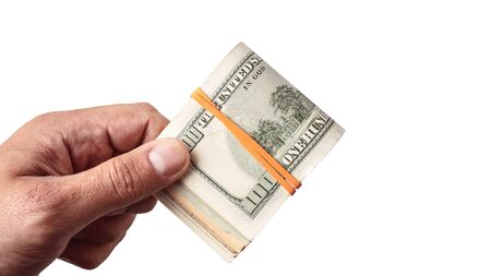 Dollar banknote kept in male hand on white background