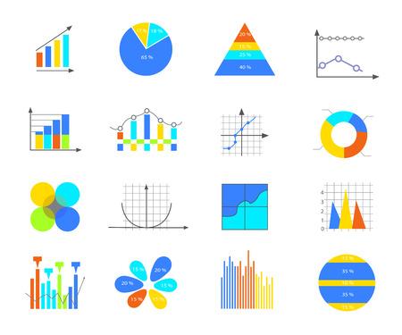 grafica de barras: Datos de negocios de los elementos del mercado punto barra gráficos circulares diagramas y gráficos plana conjunto de iconos.