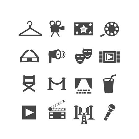 theatre symbol: Set of cinema and theatre icons