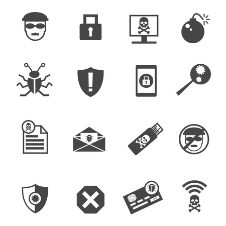 email bomb: Set of hacker icons