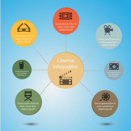 videotape: Cinema infographic with glasses, chair, videotape Illustration