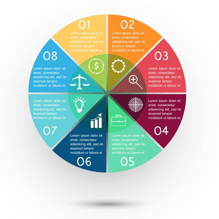 financial cycle: Colorful presentation business circle with text and icons
