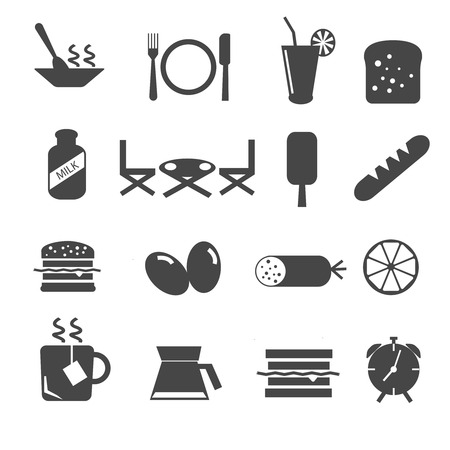 Set of breakfast and morning mono icons