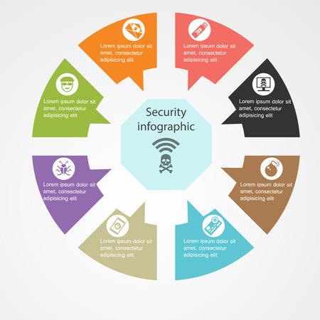 security icon: Security infographic template with text and icons