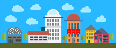 Cityscape met gebouwen, bomen adn wolken. vector achtergrond