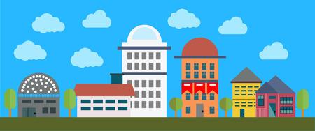 adn: Paisaje urbano con edificios, árboles del ADN de las nubes. fondo del vector Vectores