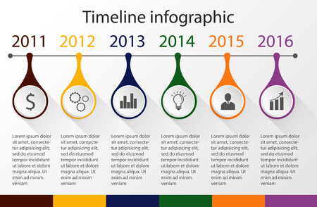 decade: Color Step Design with colour icon timeline template and graphic or website