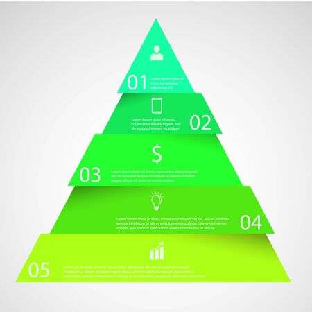 pyramid: Illustration infographic with motif of triangle divided, cut to five parts with small shadow. Each part contains unique number, icon and space for own text or other purposes.