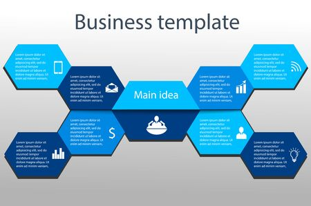 Business colorful template with icons in the form of beetle