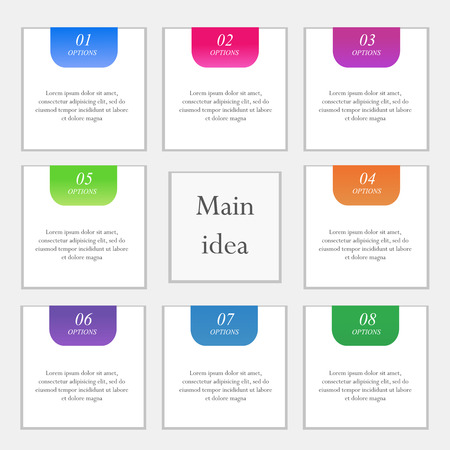 main idea: Vector colorful arrow infographics for your business presentations. Can be used for info graphics, graphic or website layout vector, numbered banners, diagram, horizontal cutout lines, web design