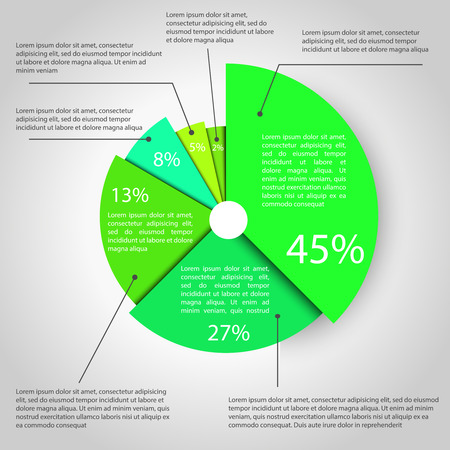 pie chart: Abstract pie chart graphic for business design, infographics, reports, step presentations, number options or workflow layout. Clean and modern style