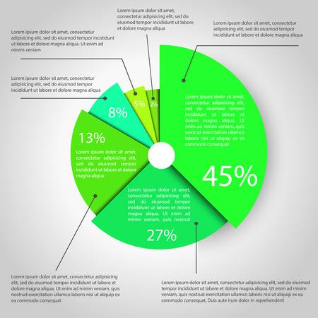 graficas de pastel: Resumen gráfico del gráfico de sectores de negocios para el diseño, la infografía, informes, presentaciones de paso, opciones de número o el diseño de flujo de trabajo. estilo limpio y moderno Vectores