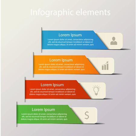step up: Modern infographics elements. Origami style. Vector illustration. Can be used for workflow layout, diagram, number and step up options, web design. Infographics background.