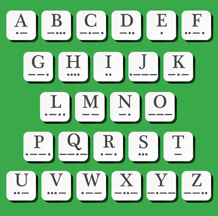 Plastic tile alphabet with morse code. Vector illustration