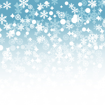 christams: Blue winter background with snowflakes and stars Illustration