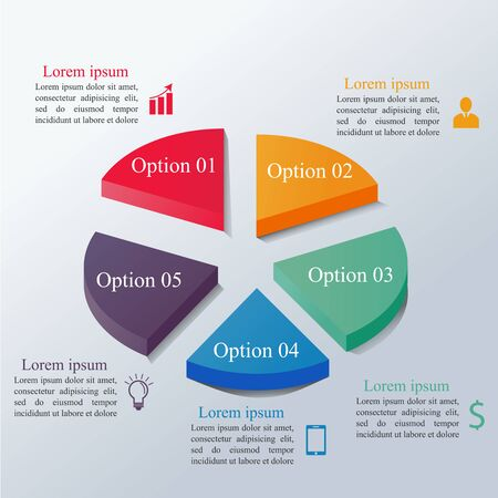 Isometric infographics options template with 3d colorful circle divided into 5 parts. Can be used for workflow layout, diagram, number options, step up options, web design, infographics