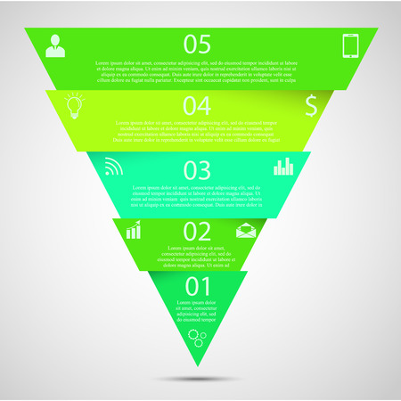 triangle: Illustration infographic template with motif of triangle divided, cut to five parts with small shadow. Each part contains unique number, icons and space for own text or other purposes.