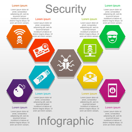 Information security infographic set with icons and text Illustration
