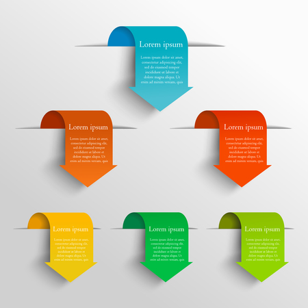 six web website: Minimalistic arrow design concept. Can be used for workflow layout, diagram, number and step up options, web design. Infographics background. Set vector arrows in the form of bookmarks