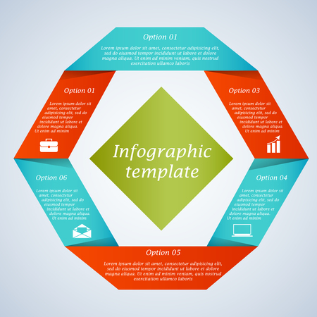 six web website: Modern hexagon infographic template. Options banner. Can be used for workflow layout, diagram, number and step up options, web design. Infographics background.