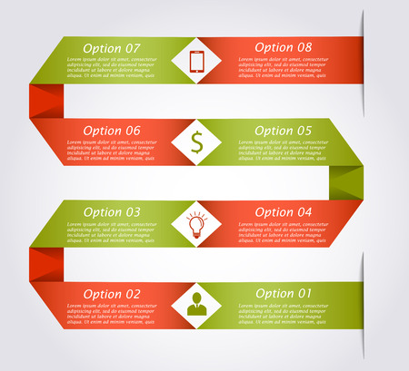 snake origami: Ribbon business infographic template in the form of snake. Business concept with 8 options, parts, steps or processes. Can be used for workflow layout, diagram, step up options, web design