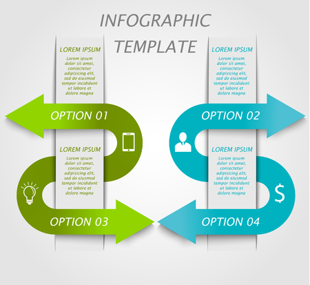 Infographic template with icons, options and text. Can be used for workflow layout,  business concept with 4 options, parts, steps or processes, banner, chart, web design