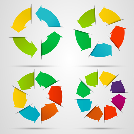 5 6: Set of circle arrows for infographic. Template for diagram, graph, presentation and chart. Business concept with 4, 5, 6, 8 options Illustration