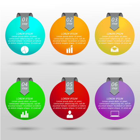 six web website: Infographic colorful business balls with arrows, text and icons. Concept with 6 objects