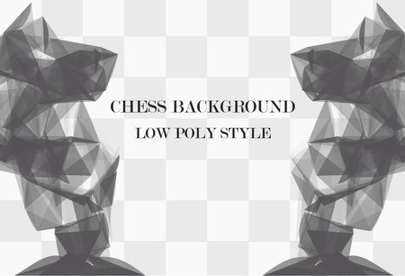 logical: Low poly abstract chess background with 2 big knights. Polygonal vector background