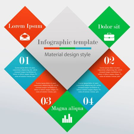broshure: Modern infographic square template with 4 options, parts or processes. Material design style. Business concept. Broshure and banner template Illustration