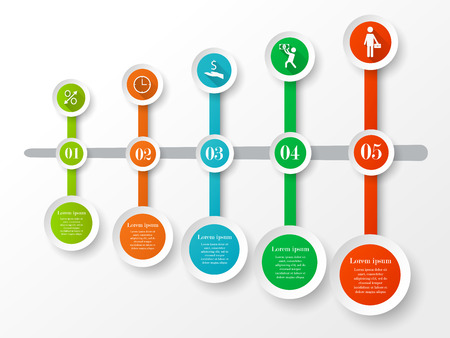Infographic business circle timeline concept. Timeline banner of five options, icons and text