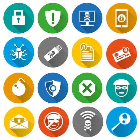 Set of security, cyber and hacker flat icons with long shadow effect in the circles. Isolated on white background.