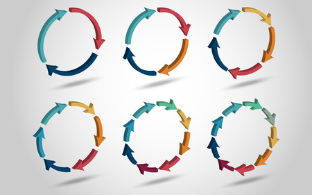 arrows circle: 3D circle arrows for infographic. Template for diagram, graph, presentation and chart. Business concept with 3, 4, 5, 6, 8, 9 options with shadow Illustration