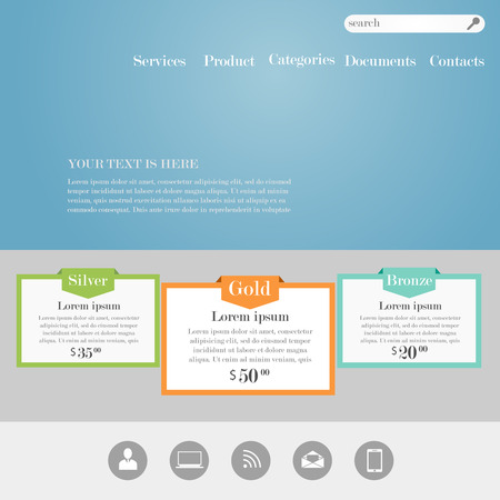 web site design template: Web site design template witn banners and icons. Template for product marketing